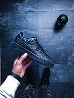 Мужские кроссовки Nike Air Force 1 07 LV8 Black Croc (Найк Аир Форс) черные