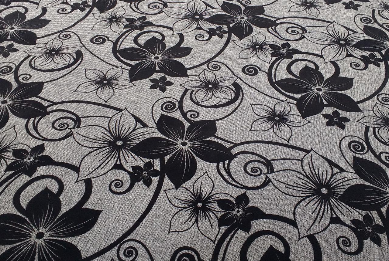 Мебельная рогожка с флоком ткань Шервуд сер