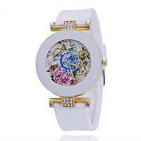 Часы женские Витражные цветы силиконовы ремешок белые