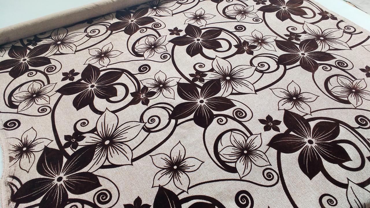 Мебельная рогожка с флоком ткань для дивана недорого Шервуд беж
