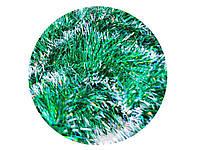 Мишура пушистая L=2,4 м d=100 мм зеленая с белым 5 шт