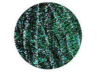 Мишура пушистая L=2,4 м d=25 мм зеленая с белым 10 шт