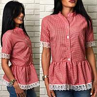 Оригинальная, женская рубашка-блуза с кружевом, разные размеры.