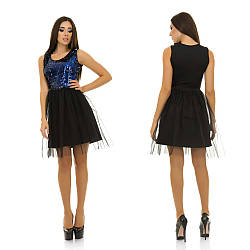 Коктейльное платье с лифом расшитым пайетками и с пышной юбкой из фатина