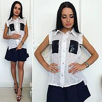 Оригинальная, женская блуза с пайетками, размер Норма.