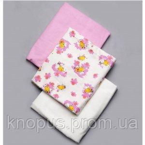 Набор фланелевых пеленок для девочки 3 шт., Модный карапуз