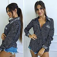 Стильная, женская блуза в горошек из штапеля, разные размеры и цвета.