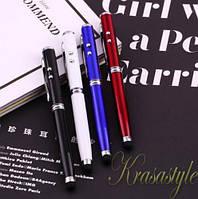 Ручка-лазер-фонарик, Стилус 4в1 Черный