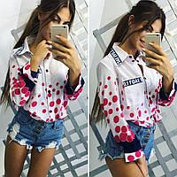 Стильная, женская блуза в горошек из штапеля, разные размеры и цвета., фото 1