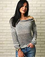 Красивая блуза с золотой цепочкой, ткань вязка. Разные размеры., фото 1