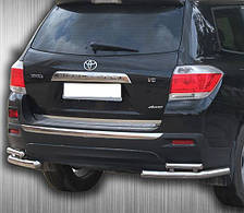 Защита заднего бампера двойные углы на Toyota Highlander (2007-2013)