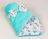 Зимний детский конверт на выписку BabySoon Париж 80 х 85 см цвет мяты (063)