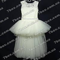 Детское нарядное платье бальное Шлейф (молочное) Возраст 6-8 лет., фото 1