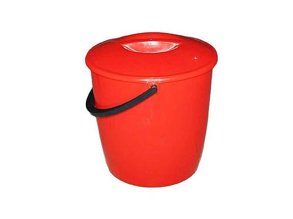Ведро пластиковое пищевое с крышкой Мед 12 л красное, фото 2