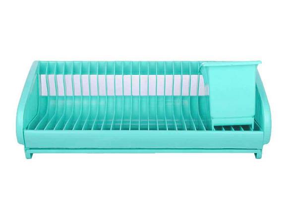 Сушарка пластикова для посуду з піддоном SL (24тар) (бірюза) ТМ КОНСЕНСУС, фото 2