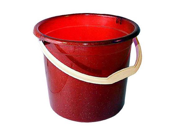 Ведро пластиковое пищевое Консенсус 10 л красное, фото 2