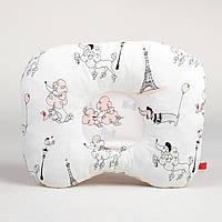 Детская ортопедическая подушка BabySoon Пудели в париже цвет пудры 22 х 26 см (172)