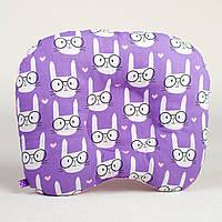 Подушка детская ортопедическая BabySoon Смешные зайцы 22 х 26 см цвет сиреневый (185)