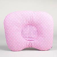 Ортопедическая подушка для младенцев BabySoon Светло розовая в горошек 22 х 26 см (186)