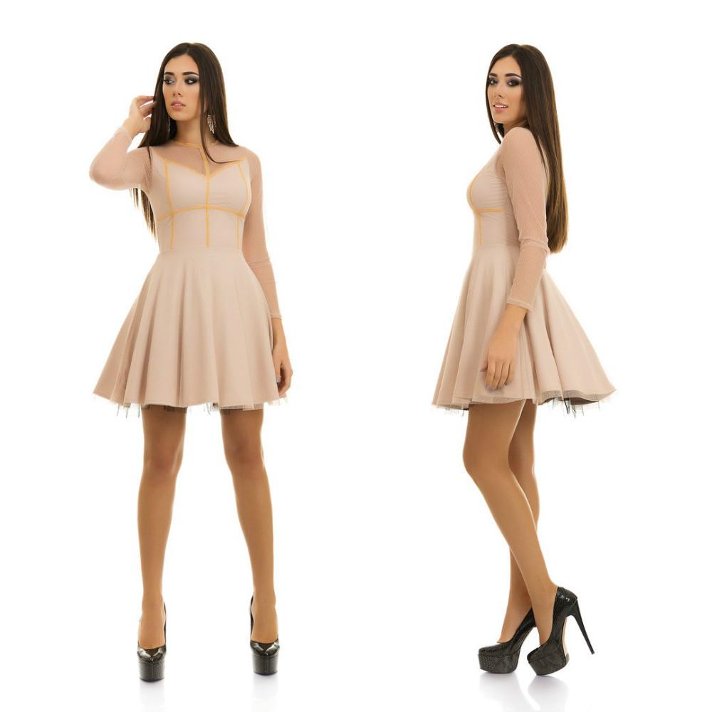Коктейльное платье с сеткой и объемным фатиновым подъюбником в комплекте