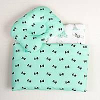 Набор в коляску детский BabySoon Бантики на мяте одеяло 65 х 75 см подушка 22 х 26 см цвет мятный (124)