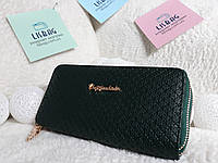 Женский кошелек клатч, имеет две молнии зеленый