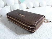 Женский кошелек клатч на две молнии коричневый