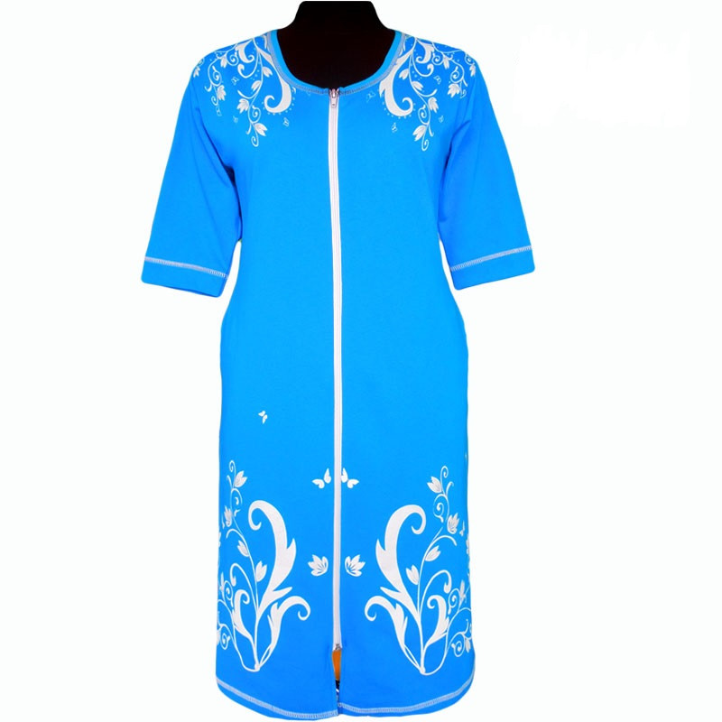 Голубой халат женский теплый на молнии домашний рукав 3/4 байка с карманами Украина