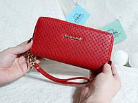 Женский кошелек клатч на две молнии красный