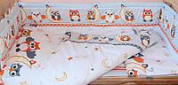 Защита бампер в детскую кроватку  из двух частей Совы серый