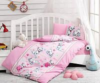Детский комплект постельного белья для новорожденных в кроватку, ранфорс,Cotton Box Miyav Pembe, Турция