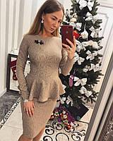 Костюм модный блузка с баской и юбка карандаш трикотаж жаккард разные цвета Kvv609