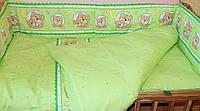 Набор постельного белья в детскую кроватку из 4 предметов Мишка в круге зеленый