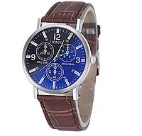 Великолепные мужские часы с коричневым ремешком код 335