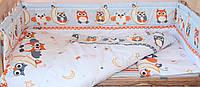 Набор постельного белья в детскую кроватку из 6 предметов Сова серый
