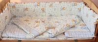 """Набор постельного белья в детскую кроватку из 6 предметов """"Евро"""" Мишка на месяце голубой"""