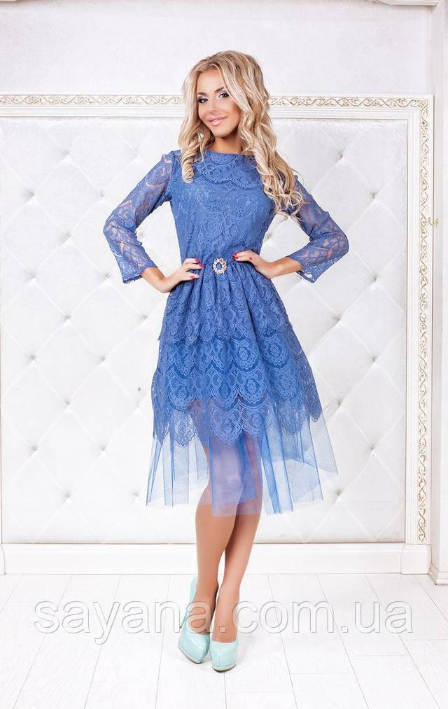 d225585e838 Женское элегантное платье из гипюра с фатином в расцветках. ПН-21 ...