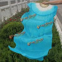 Веер вейл для танца живота с длинной тканью 1.8м синий