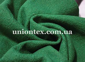 Акция! Пальтовая ткань букле зеленая на флизелине (Турция)