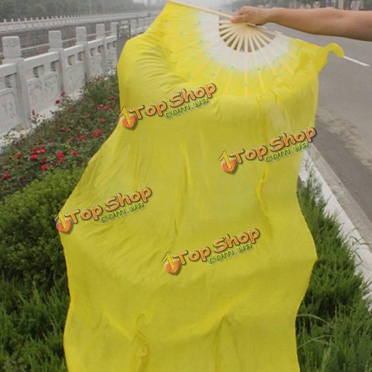 Веер вейл для танца живота с длинной тканью 1.8м желтый