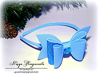Ободок с голубым бантиком из фоамирана ручной работы