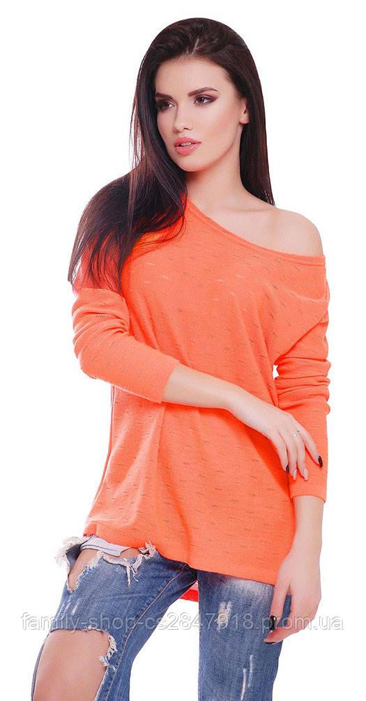 Свитер с приспуском оранжевый
