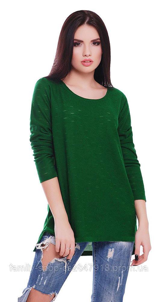 Свитер с приспуском зеленый