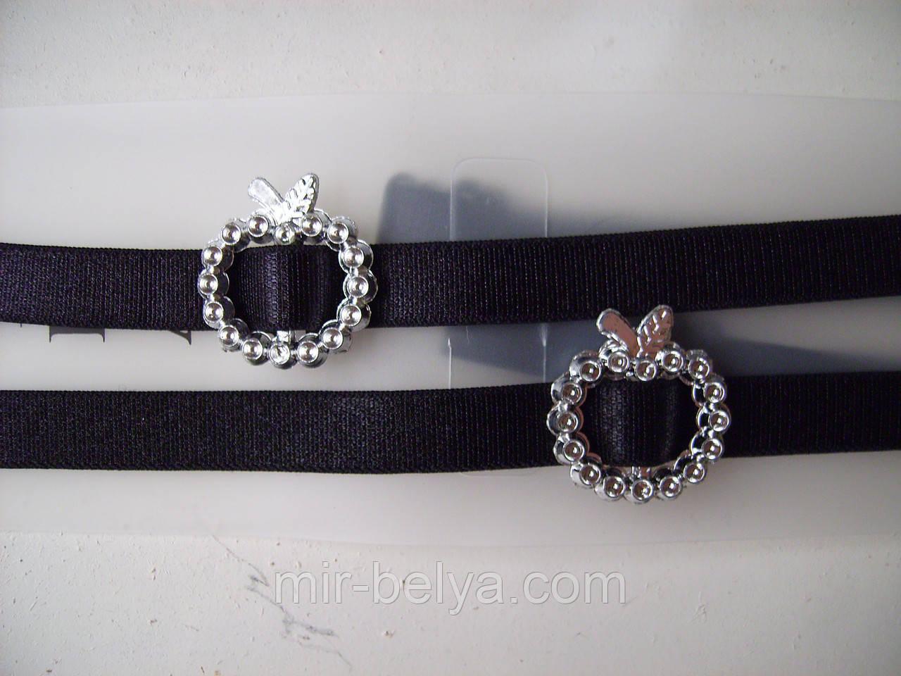 Бретельки тканевые черного цвета,с украшением