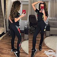 Женский костюм для фитнеса с черный с камуфляжем