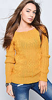 Женский свитер с плетением цвета горчицы, фото 1