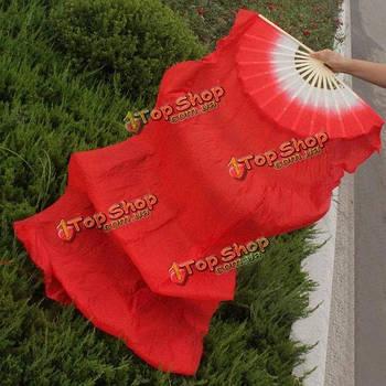 Веер вейл для танца живота с длинной тканью 1.8м красный
