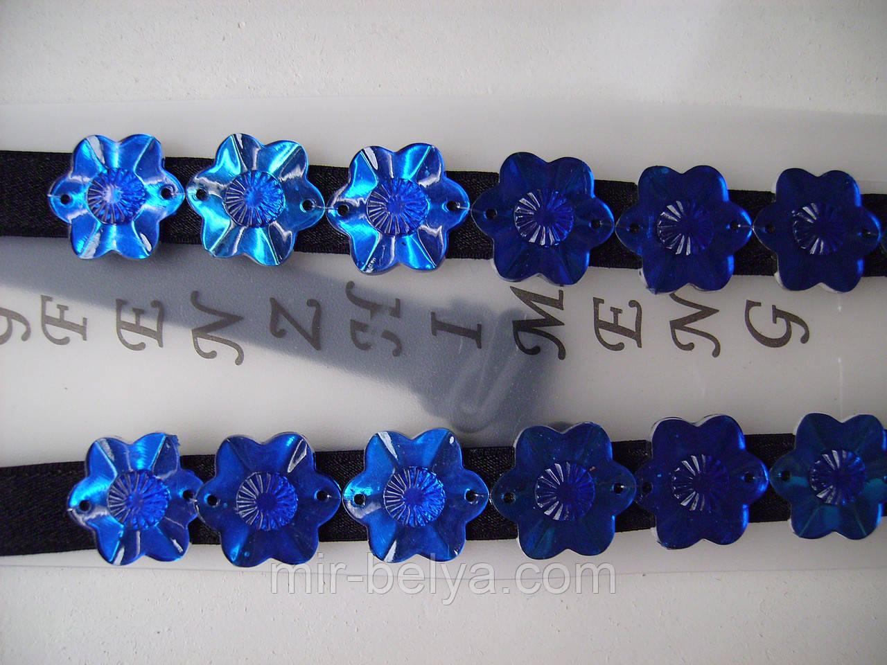 Бретельки тканевые черного цвета,в синие пайетки