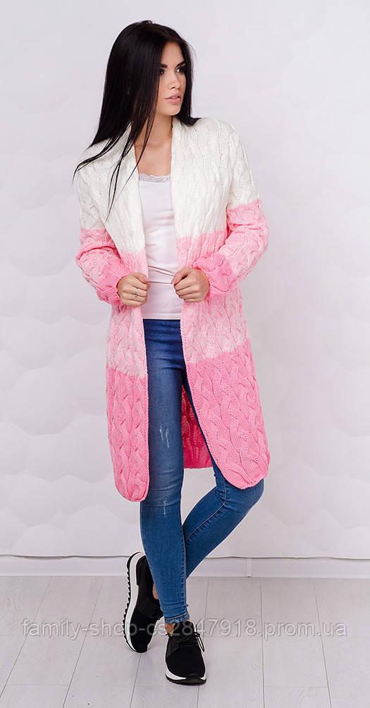 Кардиган двухцветный розовый с белым