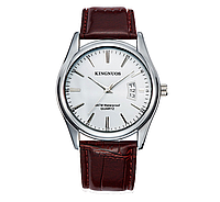 Наручные мужские кварцевые часы с коричневым ремешком код 336
